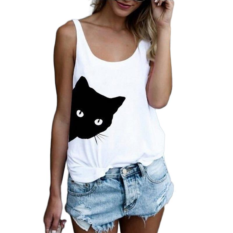 Women's Sleeveless Solid Color Cat Print Vest Sport Tank Top Casual Fashion Cute