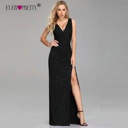 Формальные Вечерние платья 2019 Ever Pretty Sexy A Line V шеи спинки Gillter Длинные вечерние платья с разрезом новый год Robe De Soiree