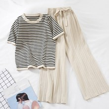Fashion Women Striped Shirt 2 Piece Set Casual Short Sleeve Tops High Waist Wide-Leg Pants Thin Knitted Bow Tie Trousers Suit