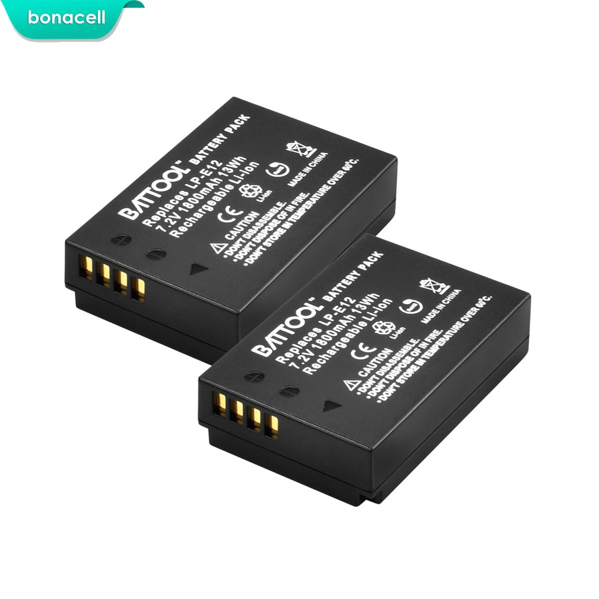Bonacell 1800mAh LP-E12 LPE12 LP E12 Camera Battery For Canon EOS M10 Kiss X7 Rebel SL1 EOS 100D DSLR Battery L10