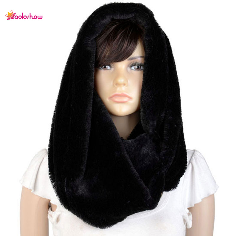 Fashion Winter Scarf For Women Thick Faux Fur Scarf Neckerchief Hood Poncho Large Size Thick Chunky Loop Infinity Scarf NL-2132