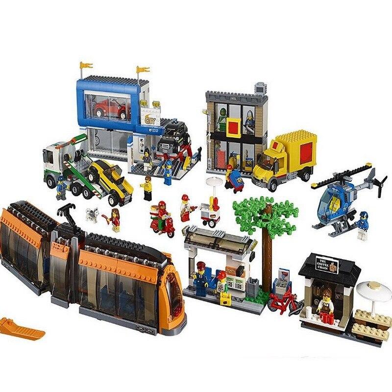 La place de la ville ensemble ville 1767 pièces Compatible avec Lego train dans les kits de blocs de construction 60097 modèle briques figure jouets pour enfants