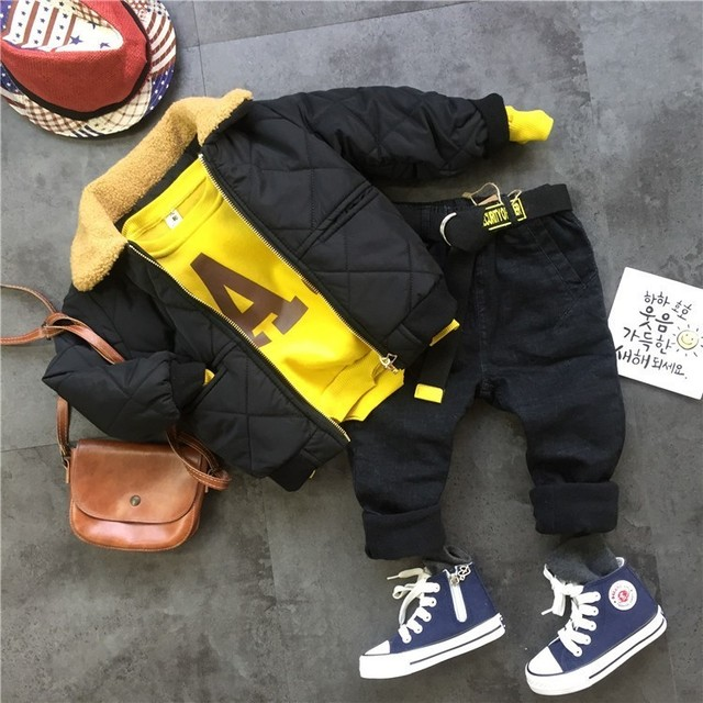 Winter Suits For Boys Warm Thicken Jacket  Coat Letter Printing Sweatshirt Pants Toddler Boys Clothing Set 3 4 5 6 7 Y Kids 3pcs