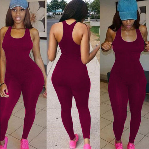 Fahsion Women Casual Fitness Sleeveless Jumpsuit Bodysuit Playsuit Sports Athletic Outfits