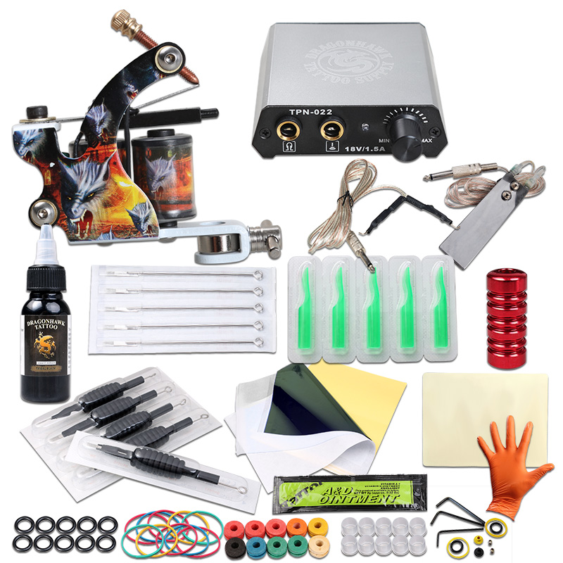 Beginner Tattoo Kit Tattoo Machine Power Supply Needles Tattoo Ink Complete Set Tattoo Supplies