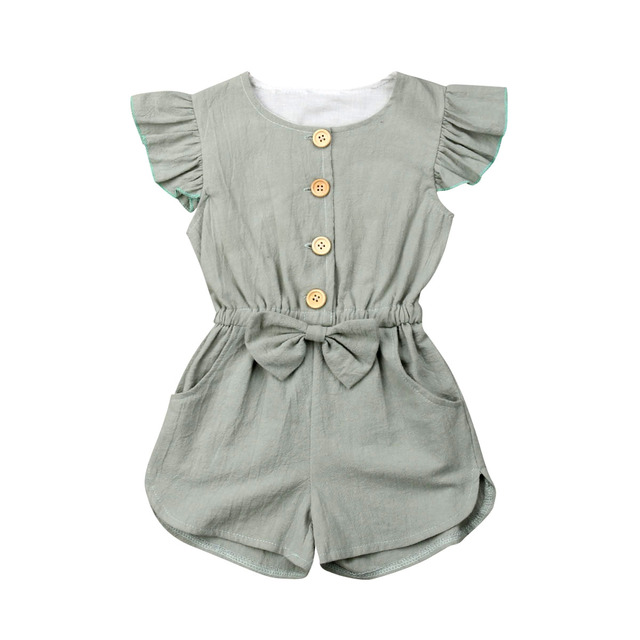1-6Years Toddler Kids Baby Girl Button Sleeveless Ruffle Playsuit Jumpsuit Outfits Clothes