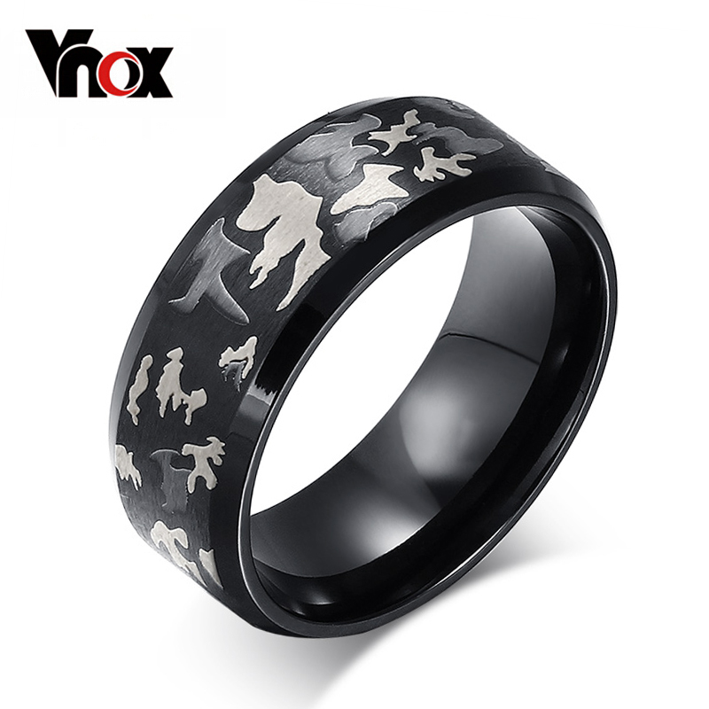 Vnox Black Men Ring Engrave Military Camouflage Stainless Steel Male Rings