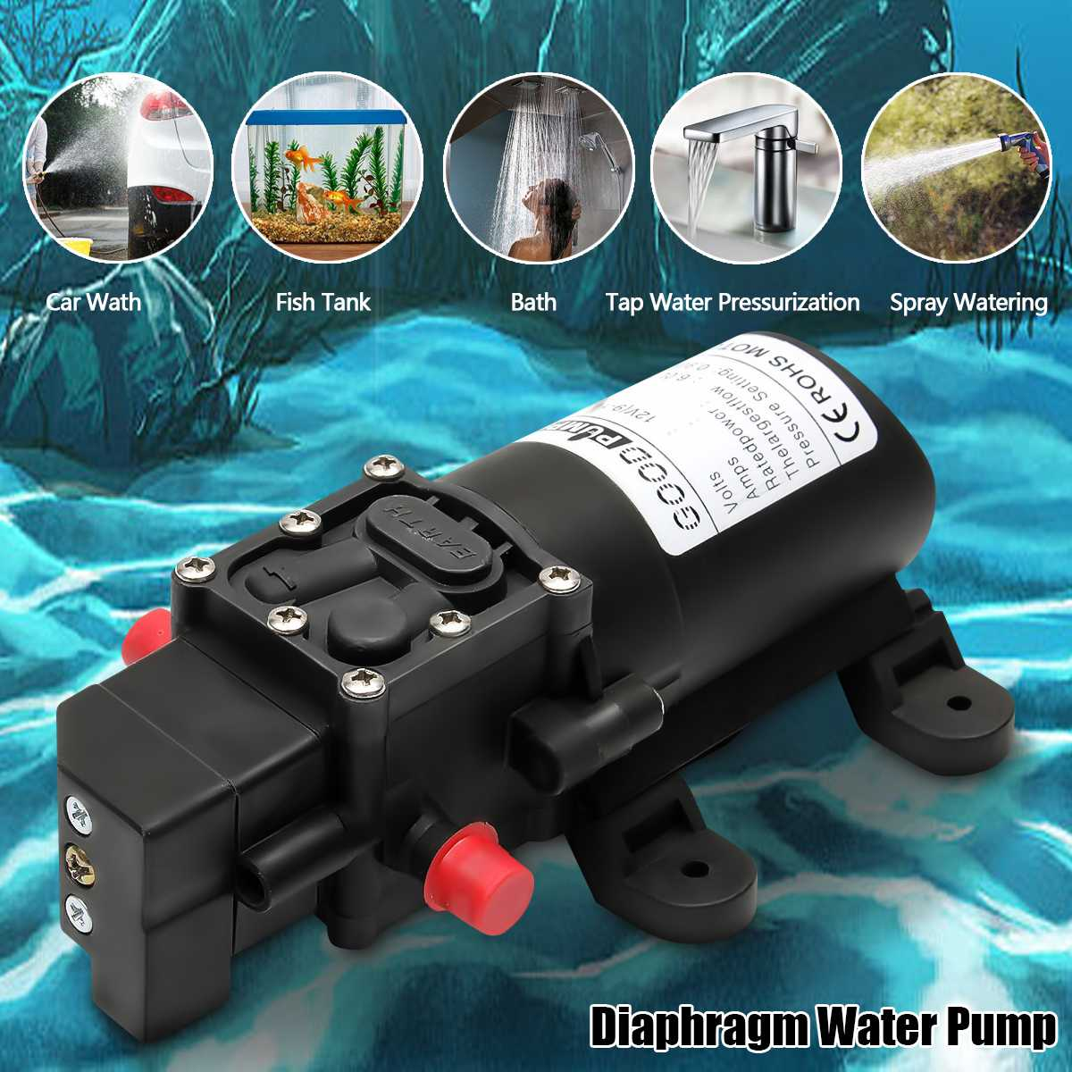 Durable DC 12V 130PSI Agricultural Electric Water Pump Black Micro High Pressure Diaphragm Water Sprayer Car Wash 12 V image
