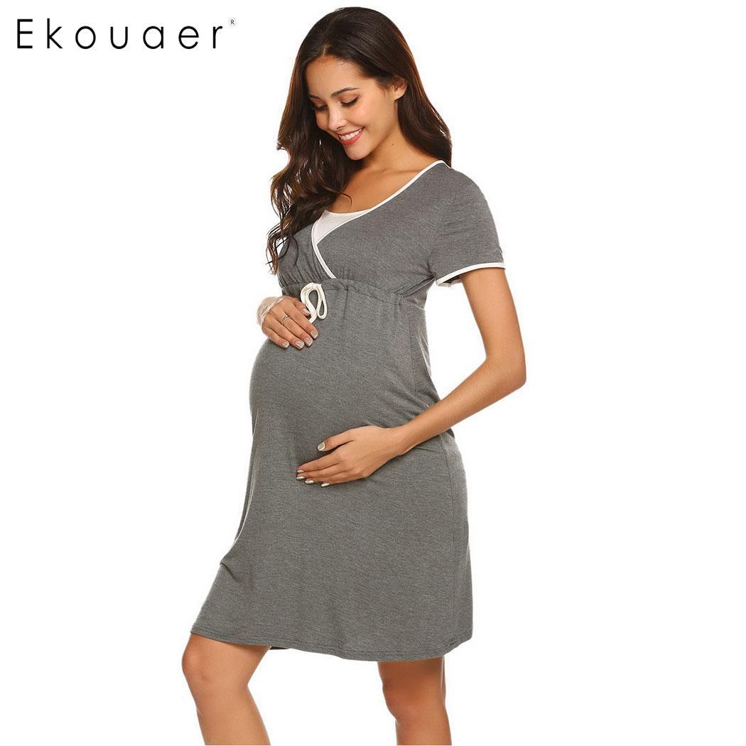 Ekouaer Maternity   Nightgown   Women   Sleepshirts   Dress Casual Solid Nursing Breastfeeding Nightdress Female Nightwear Dress