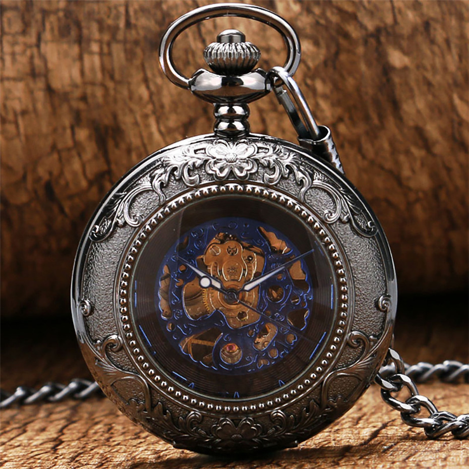 Купить с кэшбэком Exquisite Blue Roman Numerals Mechanical Pocket Watch Hand Winding Pocket Pendant Steampunk 30 cm Chain Vintage Watch Gifts