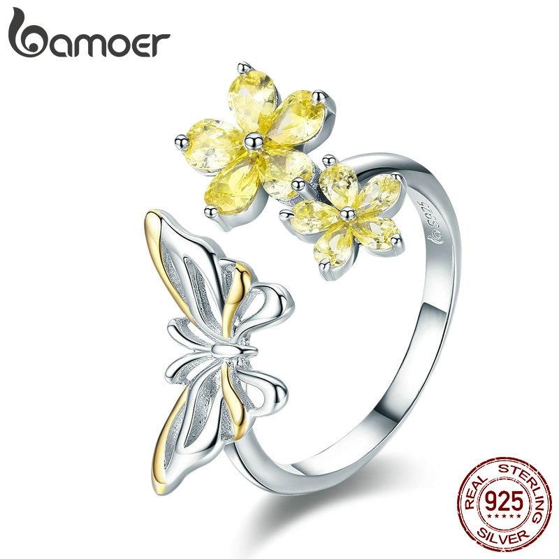 Bamoer 2019 Neue 925 Sterling Silber Tanzen Schmetterling & Blume Einstellbare Frauen Ring Mode Ring Luxus Schmuck Anel Bsr030