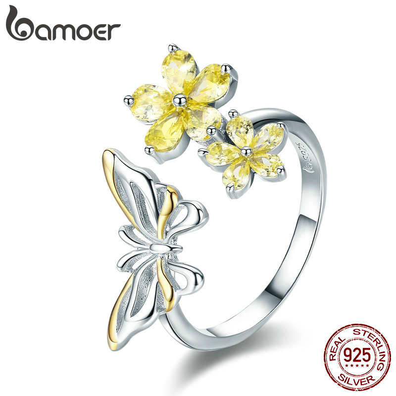 BAMOER 2019 New 925 Sterling Silver Dancing Butterfly & Flower Adjustable Women Ring Fashion Ring Luxury Jewelry Anel BSR030
