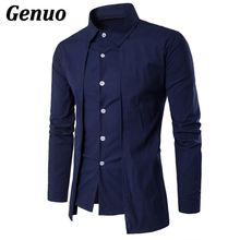 Genuo 2018 Spring Camisa Masculina Slim Fashion Men Shirt Long Sleeve Wedding Casual Solid Male Fit Shirts Plus Size