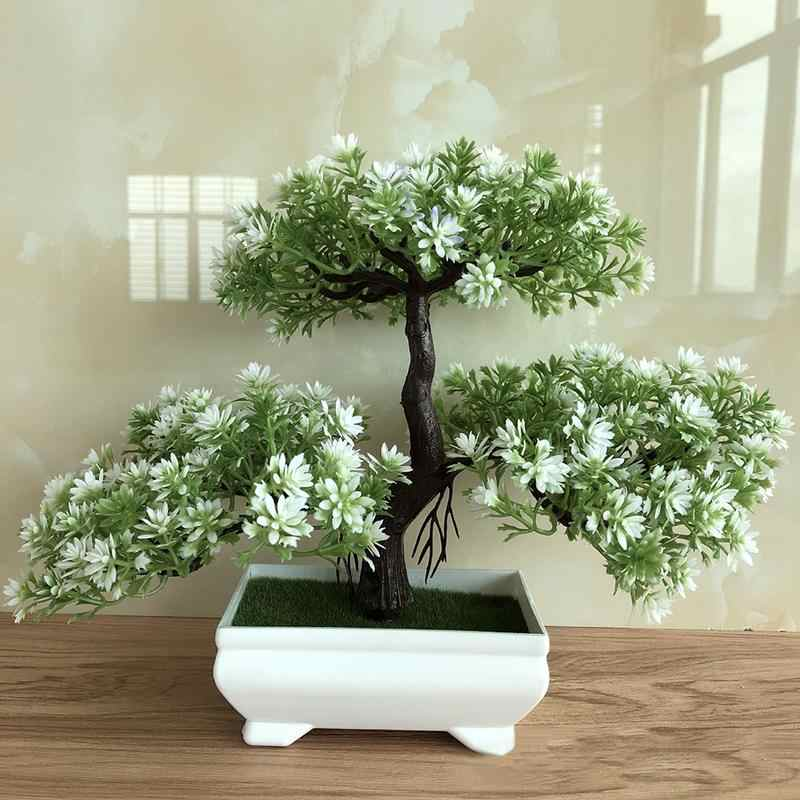 AUGKUN Ganoderma Tree Lotus Pine Tree Simulation Flower Artificial Plant Bonsai Fake Green Pot Plants Ornaments Home Decor Craft