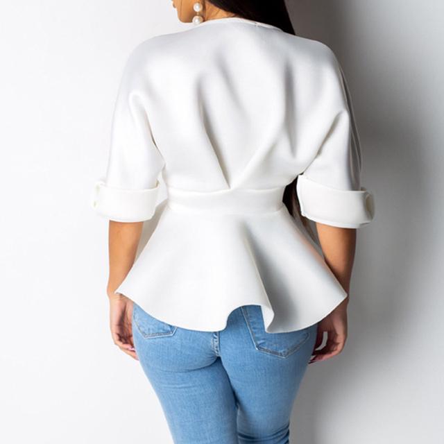 Sexy v neck ruffles blouse women Sashes bow waist peplum tops Elegant ladies half sleeve party top white black summer blouse