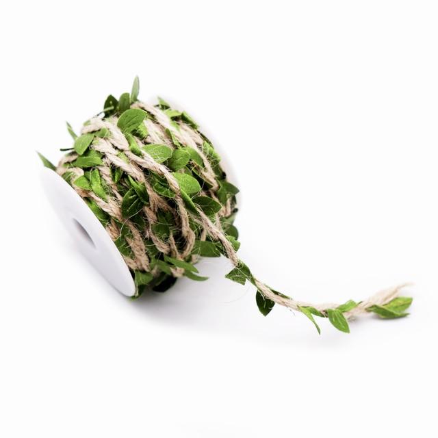 1 quintal Simulação Folhas Verdes Tecelagem Corda de Cânhamo DIY Embalagem Buquê de Presente de Aniversário de Casamento Decoração de Casamento Rattan Corda 5mm