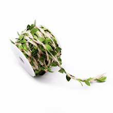 1yard Simulation Green Leaves Weaving Hemp Rope DIY Wedding Birthday Wedding Decoration Rattan Gift Bouquet Packaging Rope 5mm(China)