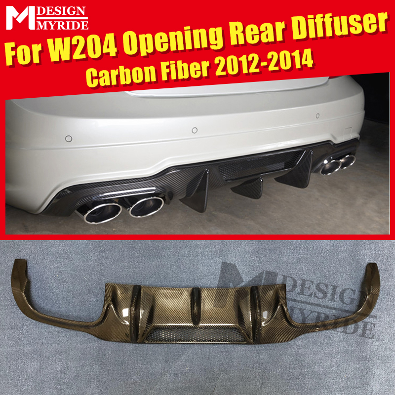 For W204 Rear Diffuser Carbon Gloss Black Opening Lip Benz C200 C230 C250 C280 2012-14