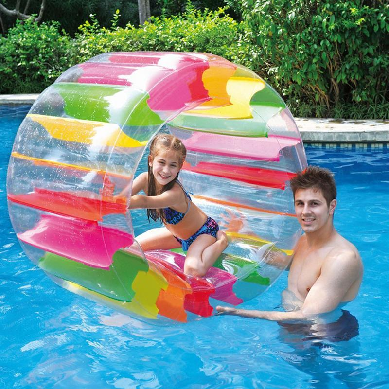 Kids Colorful Inflatable Toys Water Wheel Roller Float 36inch Roll Ball for Boys Girls Swimming Pool