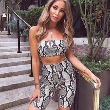 b18bad47a7e Women Spring Summer Casual Shinny Tube Top Shorts Bodycon Two Piece Set  Outfits Short Sport Snaked Printed Sets