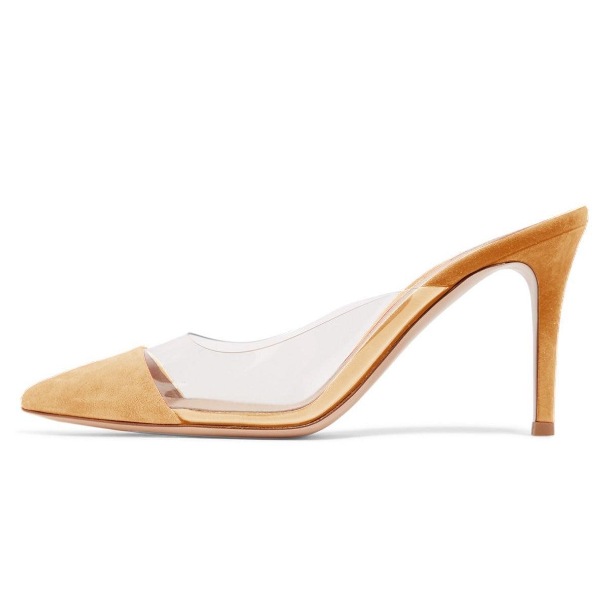 Nouveautés 2019 noir rouge daim bout pointu PVC pompe chaussures femmes découpées talons hauts Mules diapositives femme personnalisé