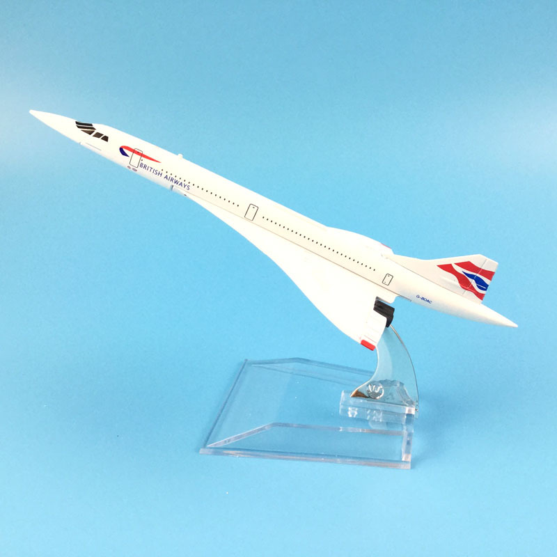 Aircraft Model Diecast Metal Plane Airplanes 16cm Airplane Model   1:400 British Airways Concord Plane Toy Gift Free Shipping