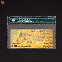 Rusia 2014, billete de oro de los Juegos Olímpicos de Invierno de Sochi, 100 rublos, papel de aluminio dorado, dinero coleccionable, réplica de moneda con COA