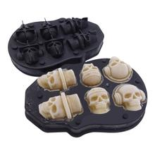 New Arrival 6 Cavity 3D Skull Silicone Ice Mold Cool Wine Cocktail Cube Tray Maker Home Kitchen Mould