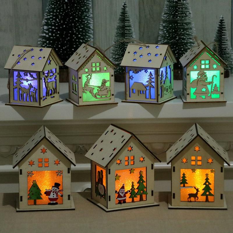Christmas Decor Xmas Tree LED Light Pendant Wood House Festival Decorations For Home Hanging Ornaments Gift Variation Lighting
