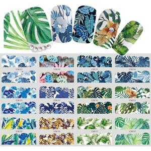 1 лист наклейки для ногтей тропические растения Цветочный узор наклейки для нейл-арта инструменты для самостоятельного украшения аксессуа...