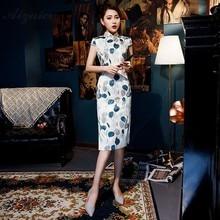 New Summer Printing Long Cheongsam Modern Fashion Qipao China Silk Dresses Chinese Traditional Dress Oriental Vintage Qi Pao