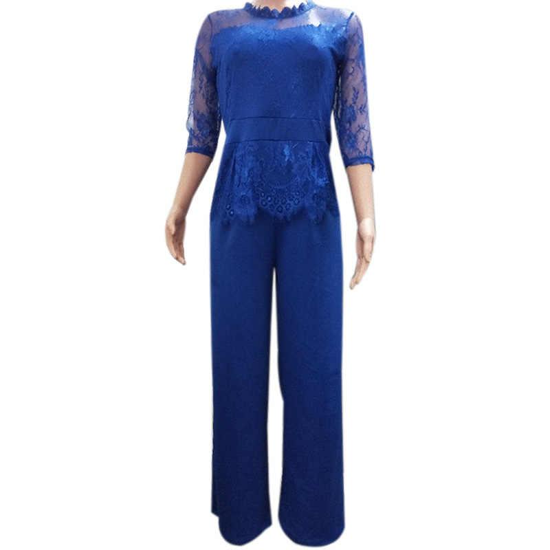 ผู้หญิงใหม่ลูกไม้,โพลีเอสเตอร์ 3/4 แขน O-คอ Casual แฟชั่น Jumpsuit Rompers Elegant ขากว้างกางเกงสุภาพสตรี Office Workwear P