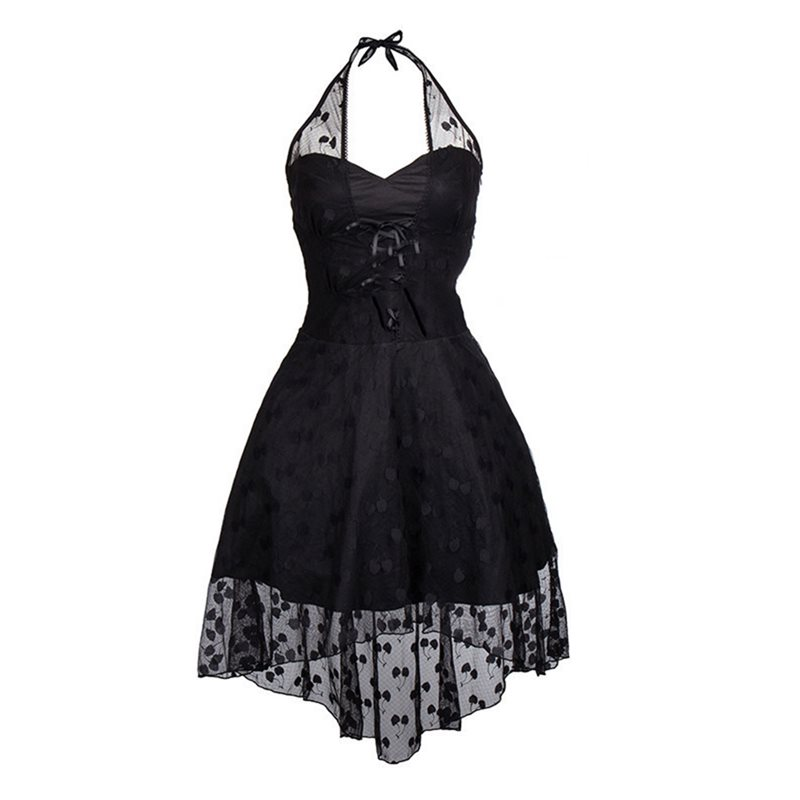 Prom Halter Sexy Dress Women Summer Gothic See Through Mesh Polka Dot Off Shoulder Elegant Evening Ladies Black Backless Dresses
