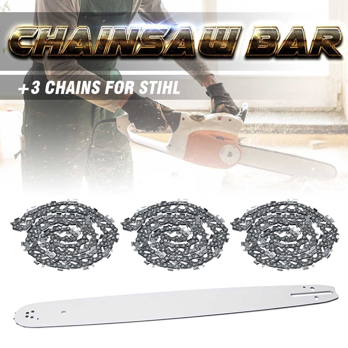 цена на 4Pcs 20 Chainsaw Guide Bar with Saw Chain 3/8 72DL .63 For STIHL MS290 MS291-310-340-360-361-361C Power Tools Accessories