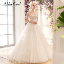 Ashley Carol Sexy V-neck Tulle Wedding Dresses 2019