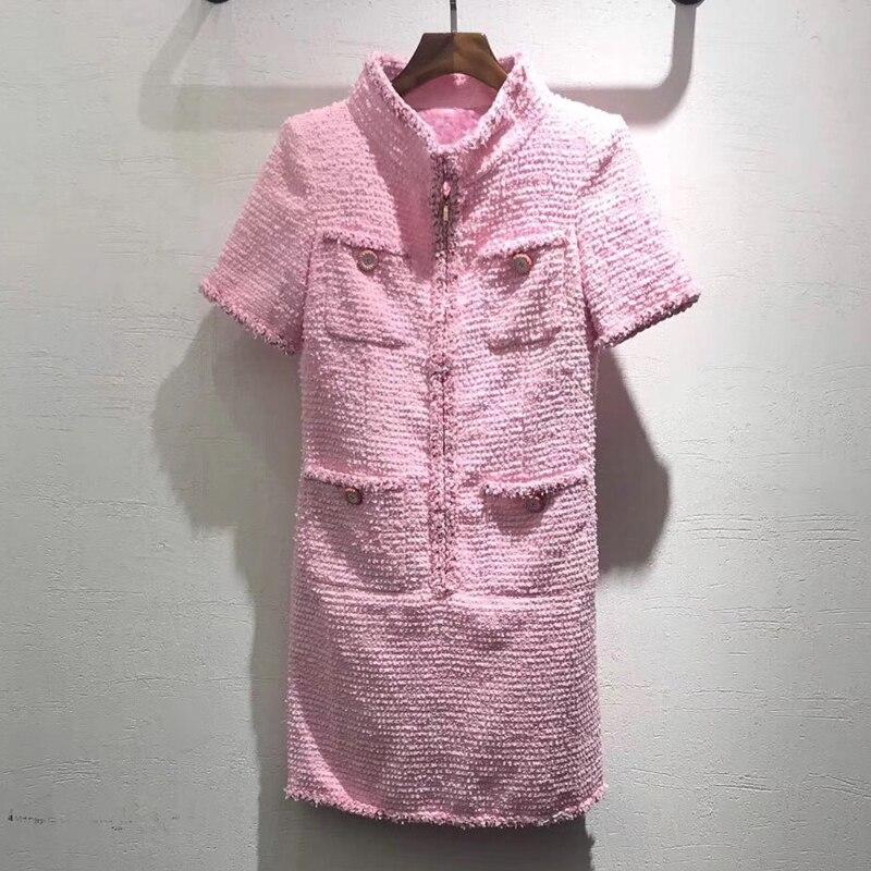 2019 nuevo vestido rosa dulce de alta calidad vestido de seda de manga corta Oficina señora moda Rosa vestidos de fiesta para mujer