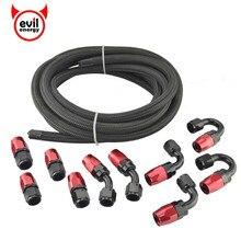Evil energy AN4 AN6 AN8 AN10 oleju paliwa okucia końcówkę węża adapter 0/45/90/180 stopni złącza + Nylon wąż w oplocie linia 5 metrów