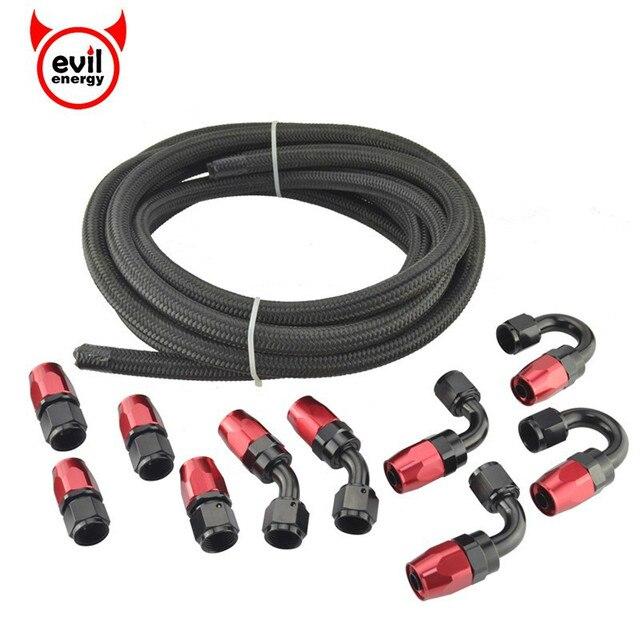 Kwaad energie AN4 AN6 AN8 AN10 Olie Brandstof Fittings Hose End Adapter 0/45/90/180 Graden connectors + Nylon Gevlochten Slang Lijn 5 Meter