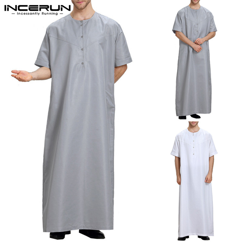 Plus Size 5XL Muslim Arab Clothing Dubai Men Dress Thobes Short Sleeve Casual Robe Middle East Men Islamic Muslim Kaftan INCERUN