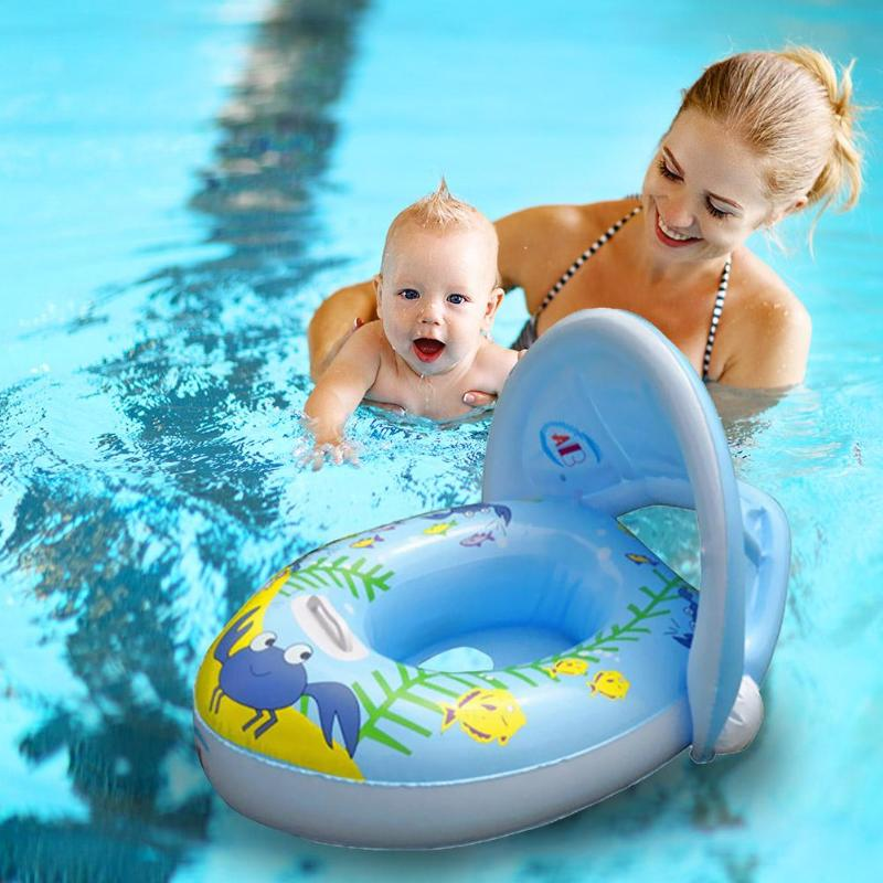Cartoon Print Baby Kids Summer Swimming Ring Inflatable Seat Boat Float Sun Shade Water Fun Pool Seat Circle Toys For Children