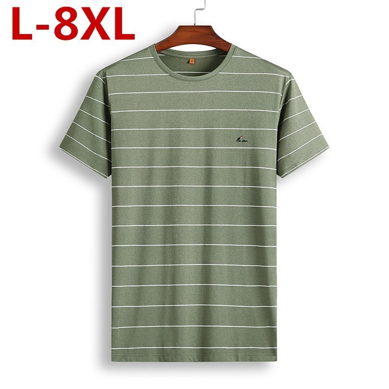 8XL 7XL   Polo   Shirt Men's Business Casual Summer Breathable Short Sleeve Striped   Polo   Shirt Cotton Of High Quality 81931 Poles