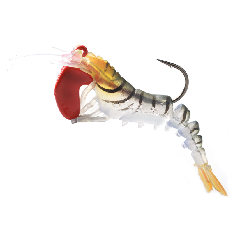 SEWS-1Pcs Soft Shrimp Fishing Lures Artificial Shrimp Baits 7g/5cm Soft Lure Bionic Bait With Lead Weight And Hook