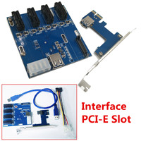 4 Port PCI E To USB Interface Expansion Card HUB Riser Cable Adapter Extender