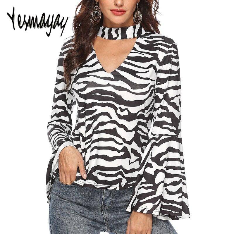 Офисная футболка Femme Зебра полосатый топ с высоким воротом для женщин Сексуальная футболка Flare длинным рукавом демисезонный Camiseta Mujer