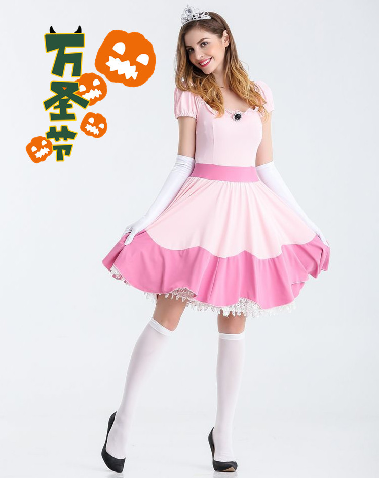 S-XL Deluxe Women Adult Pink Princess Peach <font><b>Costume</b></font> <font><b>Halloween</b></font> <font><b>Sexy</b></font> Princess Peach Super Mario Brothers Cosplay Fancy Dress image