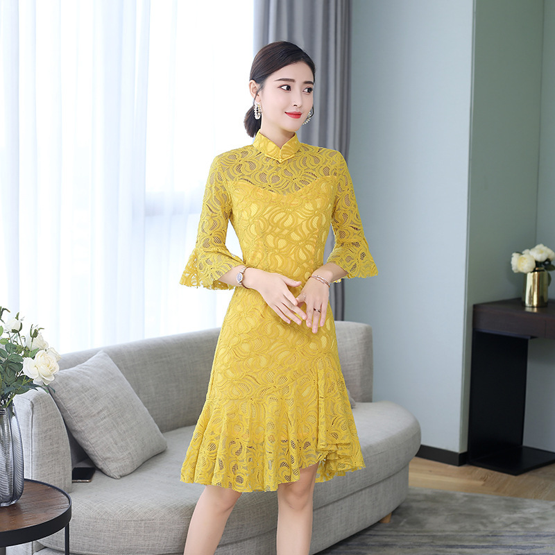 2019 Fashion Lace Yellow Cheongsam Girls Chinese Elegant Dress Women Short Mini Qipao Dresses Casual Evening Gown China Qi Pao