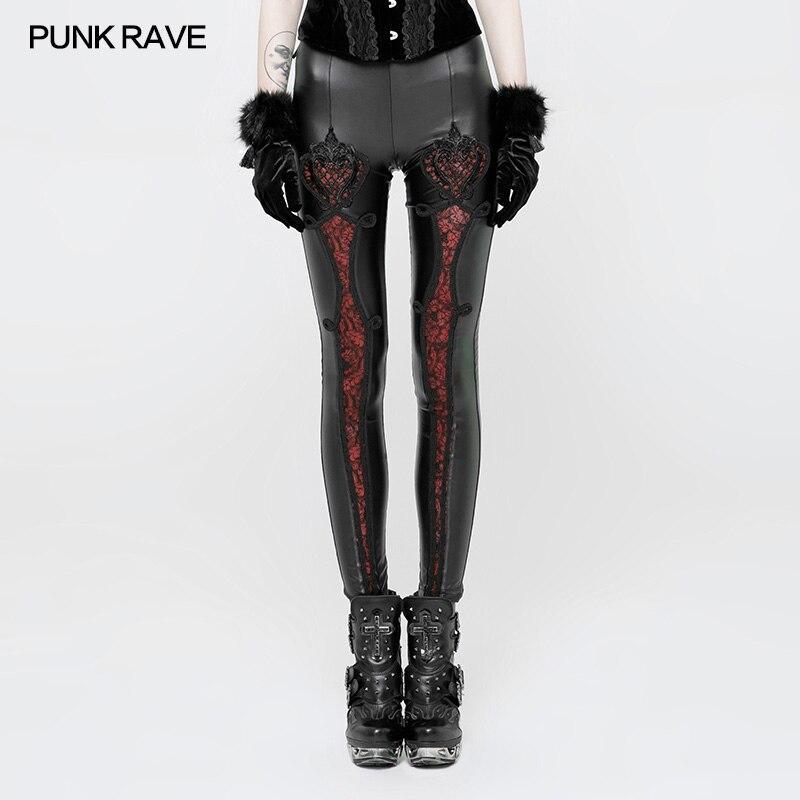 PUNK RAVE Women Pants Gothic Vintage Embossed Leggings Fas Mesh Lace Leggings Sexy Club Party Pants Gothic Leather Pants