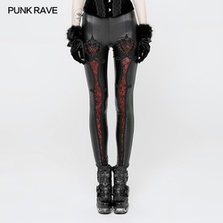PUNK RAVE Women Pants Gothic Vintage Embossed Leggings Fas Mesh Lace Leggings Sexy Club Party Pants Gothic Leather Pants