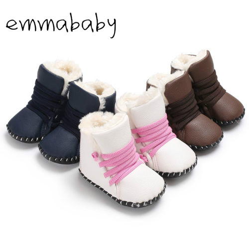 2019 Brand New Newborn Baby Girls Boys Snow Boots Winter Leather Boots Infant Soft Bottom Shoes Baby PU Furry Warm Boots 0-18M
