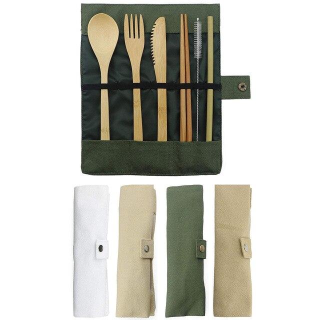7 Stuk Houten Bestek Bestek Set Bamboe Stro Set Met Doek Tas Messen Vork Lepel Eetstokjes Reizen Groothandel